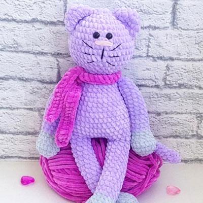 Soft purple amigurumi cat (free crochet pattern)