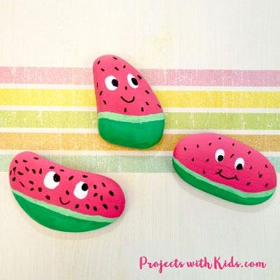 DIY Watermelon painted rocks - rock painting for kids