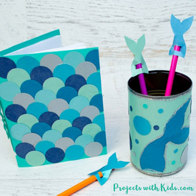 DIY Mermaid school supplies - back to school summer craft