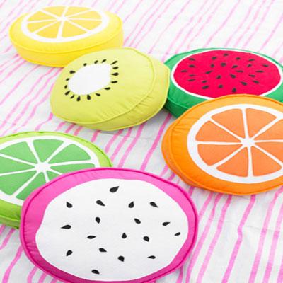 DIY Round fruit slice pillows - fun summer decor