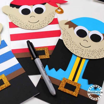 DIY Paper bag pirate puppets - fun summer craft for kids