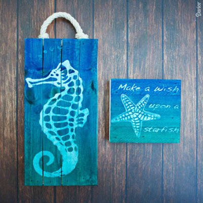 DIY Beach art ( seahorse and sea star painting ) - summer decor