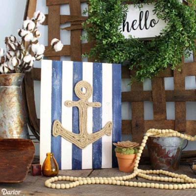 DIY Nautical rope anchor wall art - summer decor
