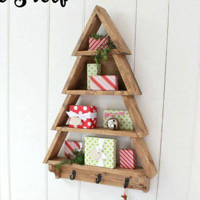 DIY Christmas tree shelf