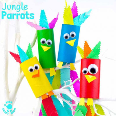 DIY Toilet paper roll parrots - fun parrot craft for kids