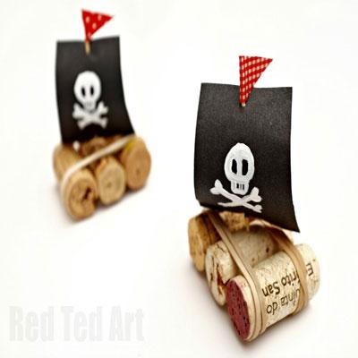 Easy DIY Cork Pirate ship - fun summer craft for kids