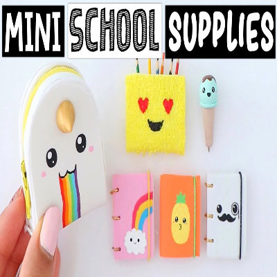 Cute miniature DIY School supplies (backpack, notebooks and pen)