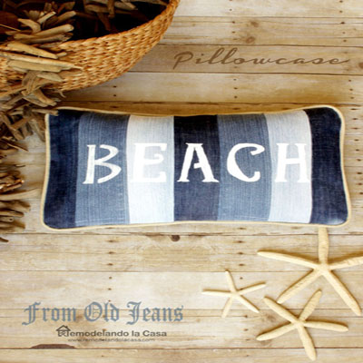 DIY Beach pillow from old jeans - upcycling craft (summer home decor)