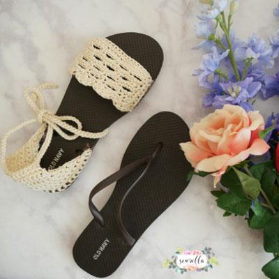 DIY Breathable cotton summer sandals with flip-flop soles (free crochet pattern)
