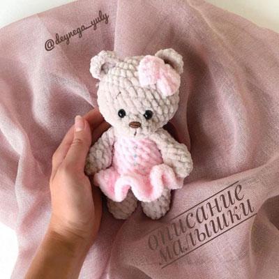 Little soft amigurumi bear in pink dress (free amigurumi pattern)