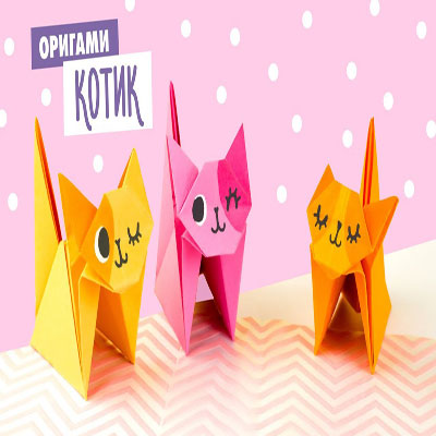 Simple cute origami cat (paper folding for kids)