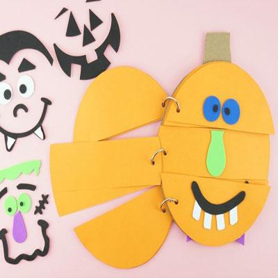 DIY Silly pumpkin face flip book ( fun fall craft for kids )