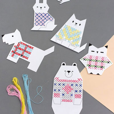 Cross stitch teaching animals in jumpers cards for kids