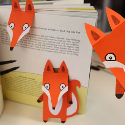 Cute paper fox bookmark - fall craft for kids