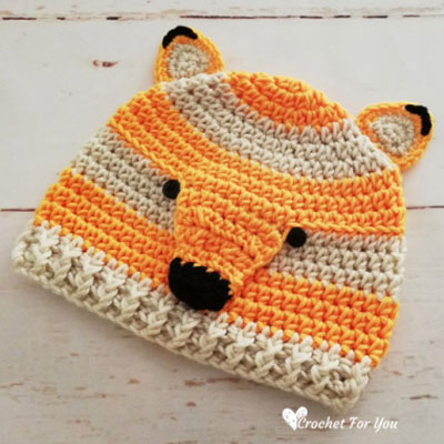 Adorable crochet fox hat (free crochet pattern)