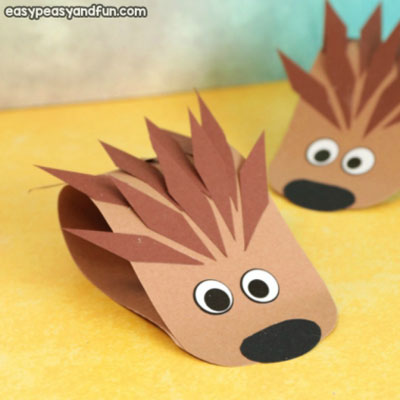 Adorable easy paper hedgehog - fun fall craft for kids (paper craft)