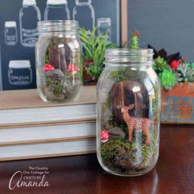 DIY Mason jar fairy garden (terrarium) - woodland home decor