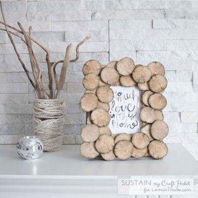 DIY Wood slice photo frame - rustic home decor for fall