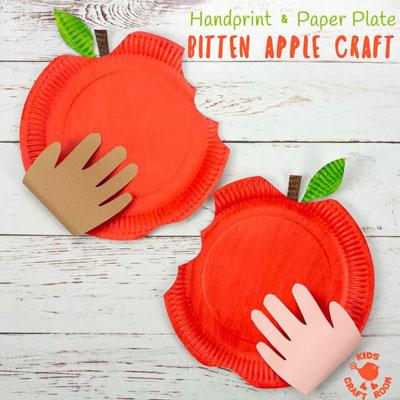 Handprint and paper plate bitten apple - fun fall craft for kids