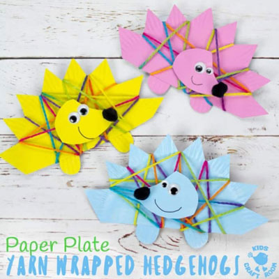 Yarn wrapped paper plate hegehog - fun fall craft for kids