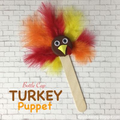 Thanksgiving turkey puppet - Thanksgiving craft for kids