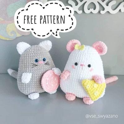 Soft amigurumi cat and mouse (free amigurumi pattern)