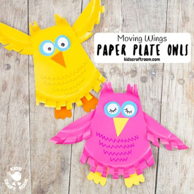 Paper plate owl with moving wings - fun fall craft for kids