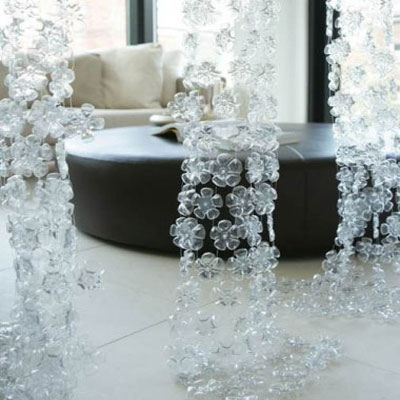 Beautiful winder decoration from plastic bottles