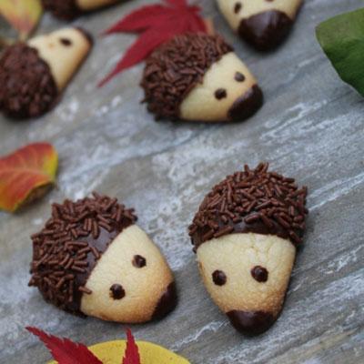 Chocolate covered hedgehog cookies - fun fall snack