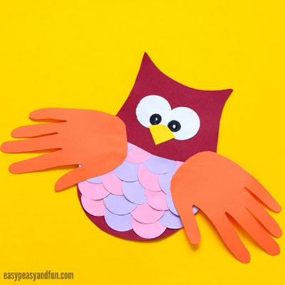Paper owl with handprint wings - fun fall craft for kids