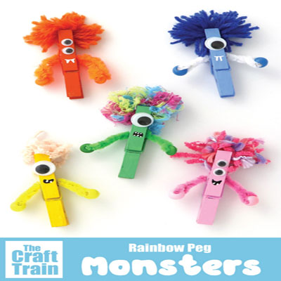 DIY Clothespin monsters - fun Halloween craft for kids