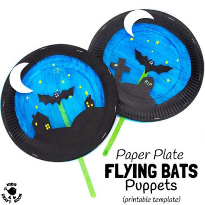 Flying bats paper plate puppet theater  - Halloween craft for kids