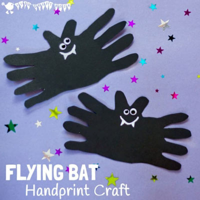 Flying bat handprint craft - fun Halloween craft for kids