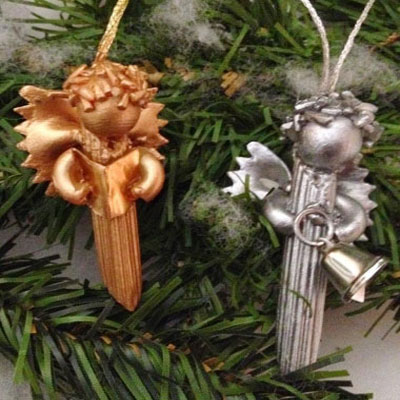 Ornament angels from macaroni and rice