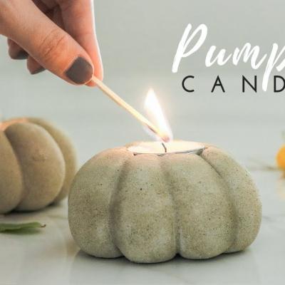 DIY Concrete pumpkin tea light candle holder