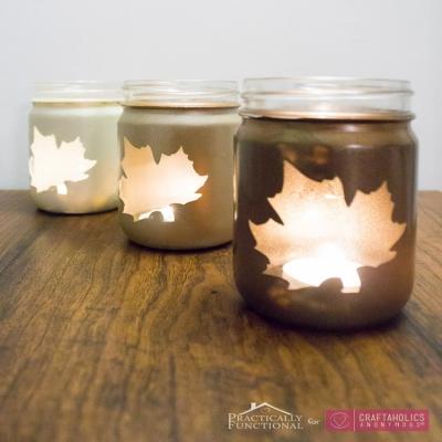 DIY Fall leaf mason jar luminaries - fall home decor