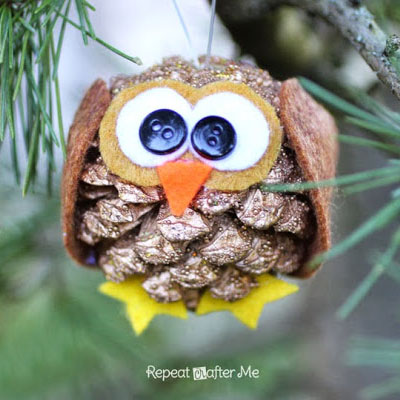 Pinecone owl ornament - fun fall craft for kids (pinecone craft)