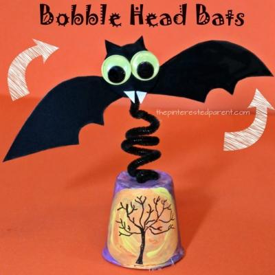 Dixie cup bobblehead bat - fun Halloween craft for kids