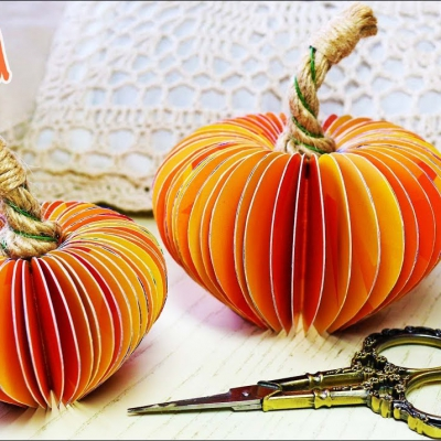 Easy DIY 3D paper pumpkins - fall decor from paper