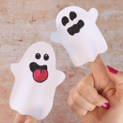 Easy paper ghost finger puppets - fun Halloween craft for kids