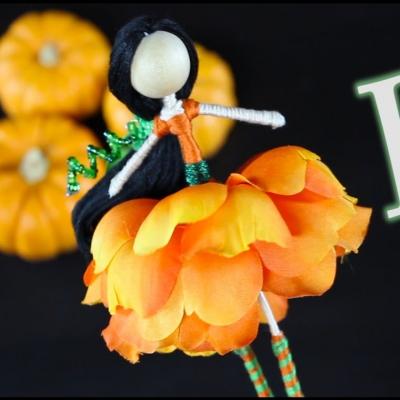 DIY pumpkin fairy (flower fairy) doll - fun fall craft for kids