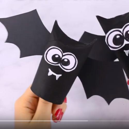 Rainbow toilet paper tube bats - fun halloween craft for kids