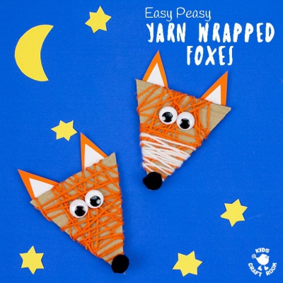 Easy yarn wrapped foxes - fin fall craft for kids