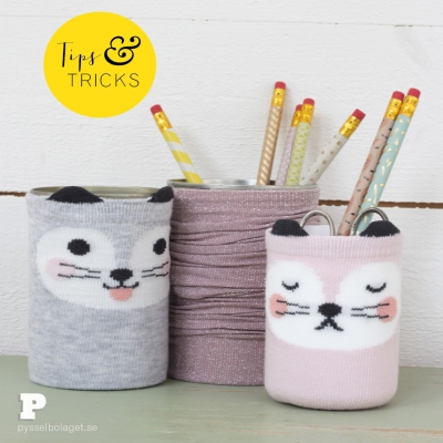 DIY Tin can & socks pencil holders - fun upcycling craft