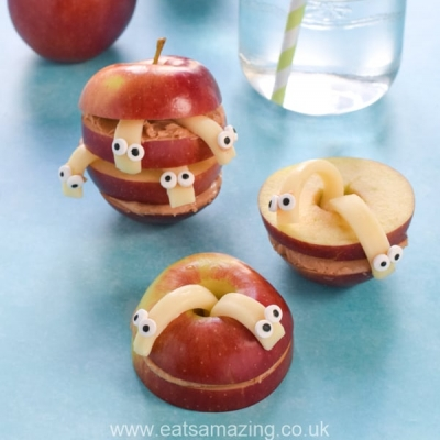 Wormy apples - fun healthy snack for kids
