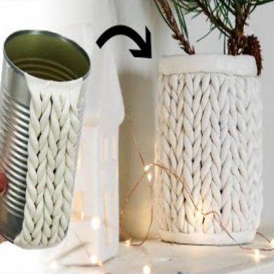 DIY Chunky knit tin can planter - winter decor