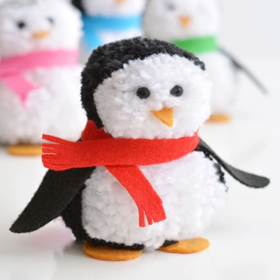 DIY Pom pom penguin - cute and easy winter craft for kids