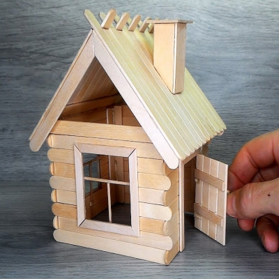 DIY Popsicle stick house - winter wonderland village (winter decor)