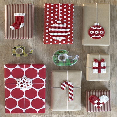 Quick and simple Perler bead Christmas gift tags