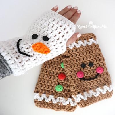 Crochet Christmas fingerless gloves (snowman and gingerbread man) - free pattern